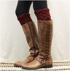 Boot cuffs SPICE SCALLOP Burgundy  boot by LaceBootSocksbyCCole