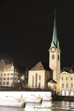 Fraumunster, Zürich at night by Karen Findlater Photography