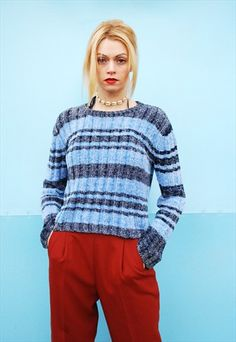 Cute vintage 90's goes 70's velvety striped normcore jumper. CONDITION - Great. Fits perfect to a pair of Mom's jeans. Size fits UK 8. The model size is UK 6-8. Length - 51 cm. The knit is stretch. Hand wash only.  Please take a look at our other items!