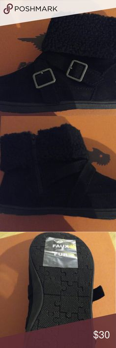 Rocket Dog black ankle boots with faux fur cuff New Never Worn black ankle boots with double buckle and inside zipper.  Faux Fur cuff Rocket Dog Shoes Ankle Boots & Booties