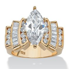 Palm Beach Jewelry PalmBeach 3.63 TCW Marquise-Cut and Round Cubic Zirconia 18k Gold over Sterling Silver Ring Classic CZ