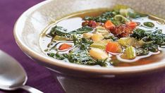 Mediterranean Kale & White Bean Soup with Sausage - Recipe - FineCooking