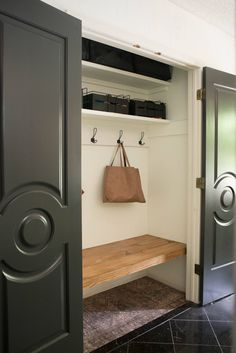 Closet Bench, Front Hall Closet, Hallway Closet, Hallway Coat Storage, Ikea Hallway, Closet Doors, Bathroom Storage, Hall Closet Organization, Organization Ideas