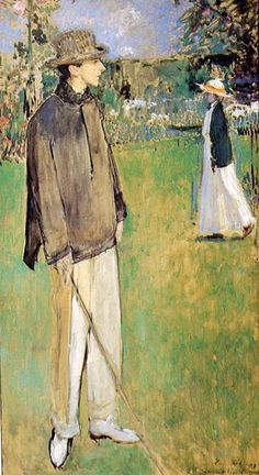 Jean Cocteau out for a Walk, 1912 by Jacques-Émile Blanche (1861-1942). French poet, novelist, dramatist, designer, playwright, artist and filmmaker.