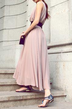 Elegant V-Neck Sleeveless Solid Color Bowknot Waisted Corset Chiffon Dress  For Women  00ebbed2d2