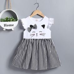 Baby Girl Cat Printed Striped Princess Dress Clothes Wholesale Free Ship Source by lassdressy Dresses Frocks For Girls, Toddler Girl Outfits, Little Girl Dresses, Toddler Fashion, Toddler Dress, Kids Outfits, Kids Fashion, Girls Dresses, Dresses Dresses