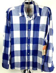 Ruff Hewn Mens Blue Buffalo White Checkered Long Sleeve Shirt XXL Button NWT #Buffalo #ButtonFront