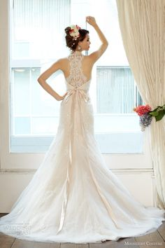 moonlight couture wedding dresses fall 2013 bridal halter strap gown style h1227 beaded racer back