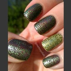 """@meltinpolish's photo: """"One of my most loved manicure! (loved by me). It's @aengland_official Sleeping Palace (isn't it marvellous?!?) stamped with @sephora Military Jacket. Accent is @enchantedpolish Green Peace on Earth. The plate is @konadnail M83. #stamping #floral #konad #aengland  #Sephora #enchantedpolish #nails  #mani #naillacquer #nailjunkie #smalto #nailart #lacquer #nailsofinstagram #unhas #ongles #notd #vernis #unghie #polish #nailpolish #nailswag #nailart #nailsofinstagram…"""