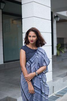 Grey denim saree #handloom #Denimtexture