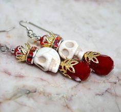 Sugar Skull Crown Crystal Earrings Day of the Dead Jewelry Red Blood Drop Tiara Cute King Queen Skeleton