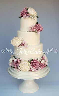Country Garden Blooms Wedding Cake