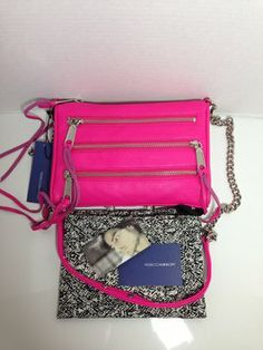 Rebecca Minkoff 5-zip Mini Mac Poppy Pink Cross Body Bag $175