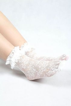 '- Made from a soft cotton-blend - Crochet knit design - Lace trim - Available in Mint, White and Black Frilly Socks, Sheer Socks, Lace Socks, Crochet Socks, Crochet Lace, Ankle High Socks, Lesbian Outfits, Cute Tights, Fashion Socks
