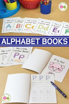 These easy-to-assemble little alphabet letter books will give your kids a variety of ways to learn letter recognition, letter sounds, and letter formation. Free Preschool, Preschool Curriculum, Preschool Printables, Preschool Lessons, Preschool Learning, Preschool Activities, Homeschooling, Free Alphabet Printables, Teaching Letters