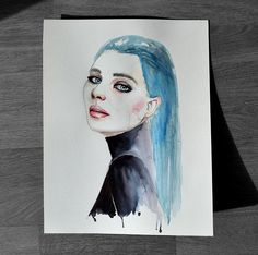 The night is a woman with blue hair - Illustration Art Print de TaniaEstevezArt en Etsy