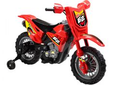 Big Toys USA MM-3999B_Red Mini Motos Dirt Bike 6v Red. The Mini Motos 6v Dirt Bike is sure to be a blast! Comes with training wheels and cruises at 3 MPH. Specs: Motor(s): 1 x 6 Volt 20 Watt Batteries: 6v 4.5ah Rechargeable Battery Charger: Included - 4 to 6 hours charging time Speed: 3 Mph Suggested Max Weight: 44 lbs Suggested Age: 3-5 years old Throttle Type: Handlebar push button Tires: Plastic Braking System: Releasing the throttle allows dirt bike to stop quickly Material of Body: ABS…