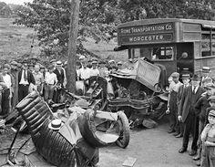antique auto wrecks | Big auto wreck at Waltham, 1921