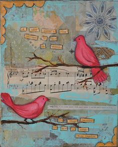 Birdsong #bird #sing #quote #mixed_media #art #collage #painting