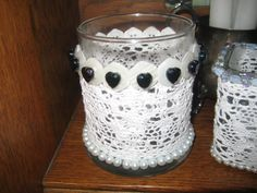 Round Votive with Lace by thooker on Etsy, $18.00