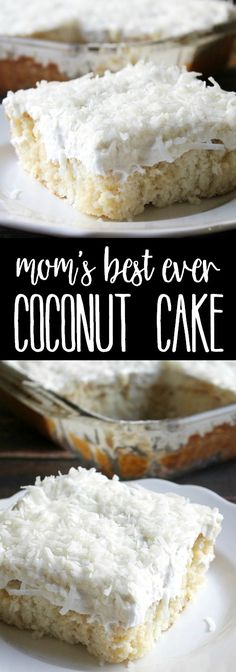 My Mom's Best Ever Coconut Cakeis dessert heaven! Creamy, dreamy, tender cake topped with whipped cream is so easy to make and is loaded with coconut flavor! via @breadboozebacon