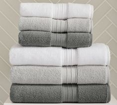 An advanced weaving process results in thousands of fine, untwisted loops that make our Hydrocotton Towels up to 10 times more absorbent than traditional cotton terry. At a fluffy these Turkish cotton towels are supersoft and fast dryin… Grey Bath Towels, Best Bath Towels, Bath Towel Sets, Bathroom Towels, Kitchen Towels, Pottery Barn Bath, Pottery Barn Kids, Bath Towel Storage, Bath Sheets