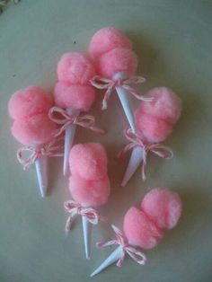Christmas Tree Themes : Tiny Cotton Candy Props (for barrettes, pins, cupcakes, etc) Candy Land Christmas, Christmas Tree Themes, Pink Christmas, Christmas Crafts, Christmas Ornaments, Christmas Ideas, Costume Bonbon, Girl Scout Swap, Swaps For Girl Scouts