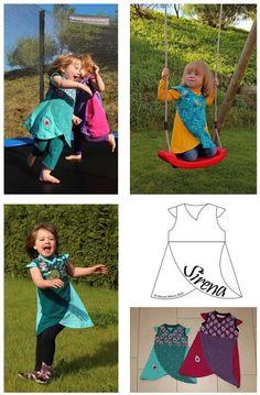 Freebook Sirena ist ein Kleid mit asymmetrischem Ausschnitt und geschwungenem Rockteil in Lagenoptik. für Kinder /Mädchen 80 - 164