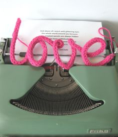 Knitted words! An idea for all the finger knitting my daughter does. Insert wire and shape...