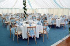 A beautiful sky blue wedding marquee