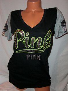 New Victoria's Secret PINK Varsity T-Shirt Black V-Neck Sparkly Sequin Bling #VictoriasSecretPINK #EmbellishedTee