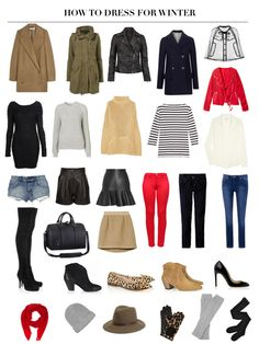 how to dress for winter; - Layer two pairs of tights, one wool and one opaque. - Wear thermals such as Uniqlo heat tech tees and leggings under long sleeved tops. - Stay cosy with a knit layered with a wool jacket. - Layer tights under jeans. - Add wool socks over tights and then wack your thigh high leather boots on. - Invest in a really good quality wool jacket made of thick felt-like material.