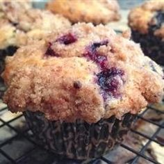 Blueberry Muffins - These muffins are extra large and yummy with the sugary-cinnamon crumb topping. I usually double the recipe and fill the muffin cups just to the top edge for a wonderful extra-generously-sized deli style muffin. Add extra blueberries too, if you want,,