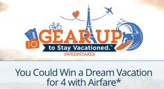 Enter to Win Vacation Sweepstakes! Vacations are an excellent way to relax, reconnect with yourself, with nature and with family. Unfortunately, vacations can also be outside people's budgets.