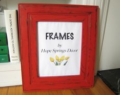 Red wood frame. Brick red picture frame. Distressed photo frame. Red frame. Select size and color. by HopeSpringsDecor on Etsy