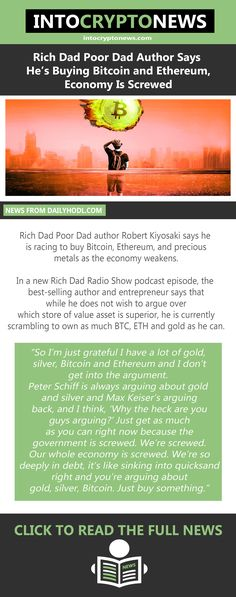 In a new Rich Dad Radio Show podcast episode, the best-selling author and entrepreneur says that while he does not wish to argue over which store of value asset is superior, he is currently scrambling to own as much #Bitcoin, #ETH and #gold as he can. Rich Dad Poor Dad, Buy Bitcoin, Cryptocurrency News, Entrepreneur, Dads, Author, Sayings, Store, Gold