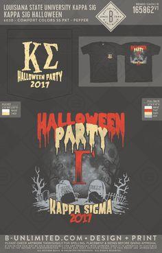 Halloween party! #BUonYOU #greek #greektshirts #greekshirts #HalloweenParty #KappaSigma Halloween Shirt, Halloween Party, Fraternity Rush Shirts, Greek Design, Greek Shirts, Louisiana State University, Custom Greek Apparel, Sigma Kappa, Greek Clothing