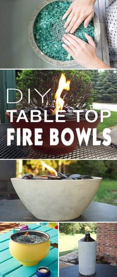 Check out these wonderful table top fire bowl projects! Easy.... and they look great for your patio, deck or outdoor space!! • DIY Table Top Fire Bowls!  #DIYfirebowls #DIYfirepit #tabletopfirebowls #DIYtabletopfirebowls #firebowls #DIY #DIYgardenprojects