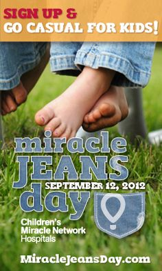 Wear jeans, heal kids on Wed., Sept 12. Find out how at MiracleaJeansDay.com #MiracleJeansDay