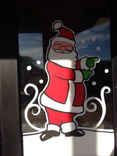 Christmas window painting Santa