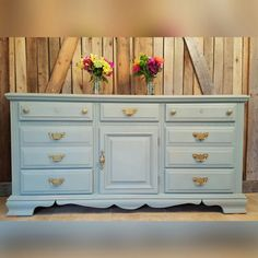 """Wide dresser painted in American Paint Company Chalk/Clay Paints """"Dollar Bill"""". A lovely green."""