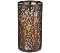 7 Laser Etched Sleeve with Flameless Candle in Bronze by Candle Impressions on QVC