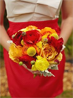 red and yellow wedding bouquet @Christi Sprinkles