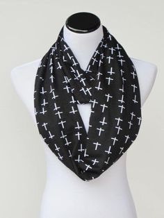 #Halloween #crosses #scarf #Goth Infinity scarf black and white #gothic by #HappyScarvesByLesya