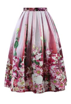 Hot Pink Floral Tulle Print Midi Skirt - sale - Retro, Indie and Unique Fashion