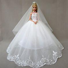 Wit-Bruiloft-Barbie Doll- vanSatijn / Kant-Jurken- metJurken