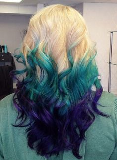 Blonde teal blue purple dyed ombre hair color @iluvpibbles