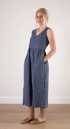 Indigo striped v-neck