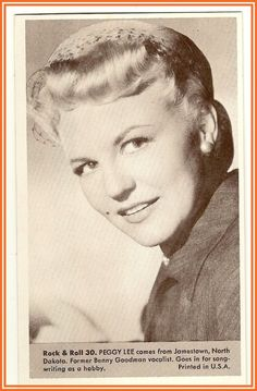Peggy Lee  Number 30 Collectible Rock and Roll  Arcade or Exhibit Card