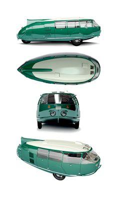1933 Dymaxion by Buckminster Fuller  a dispetto del fatto che sembra solo un modellino , questo veicolo 11 posti venne realmente prodotto - in soli 3 esemplari
